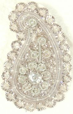 Pair of Silver Designer Paisleys Patches with Zardozi Work