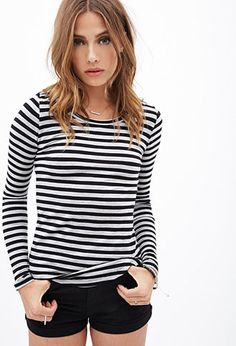 Striped Knit Top | FOREVER21 - 2055878305 I already view my summer striped tees as versatile basics. So I'm sure a long-sleeved one will be the same for fall and winter! #wishlist
