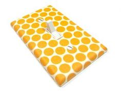 White with Orange Polka Dots Light Switch Cover by ModernSwitch