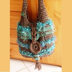Crochet Tote Freeform Bag Chocolate and Curacao Handmade Funky Shoulder Bag. $81.00, via Etsy.