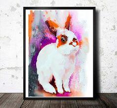 Sunny rabbit watercolor  painting print   animal by SlaviART