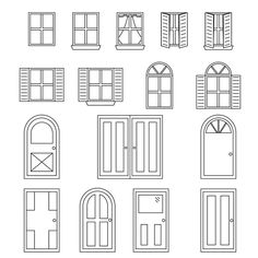 Set of 16 various styles of Black and white doors and windows. Paper Doll House, Paper Houses, Putz Houses, Fairy Houses, Interior Architecture Drawing, Architecture Design, Miniature Furniture, Dollhouse Furniture, Window Sketch