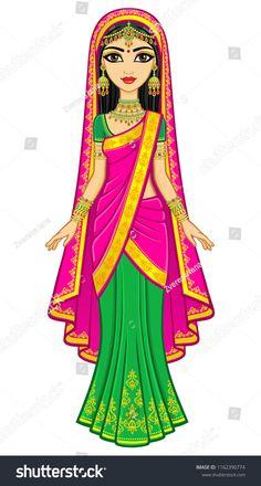 Disney Drawings Sketches, Disney Princess Drawings, Princess Cartoon, Fashion Illustration Sketches, Canvas Painting Designs, Princess Painting, All Disney Princesses, Indian Princess, Beautiful Rangoli Designs