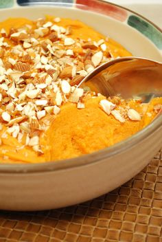 Roasted Sweet Potato Puree with Almonds Recipe : Try this healthy sweet potato pur�e this Thanksgiving. Each serving has under 100 calories. Calorie, fat, and cholesterol savings come from using safflower or grapeseed oil instead of butter.