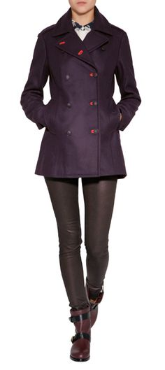Dressed up with bright red button-holes, this pea coat from Rag & Bone is a stylish update to this classic outerwear style #Stylebop