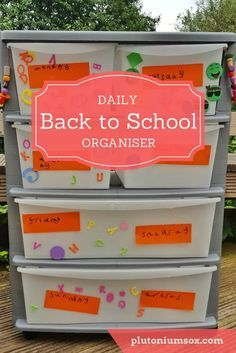 Back to school daily organiser | If mornings are chaotic in your house with lost belongings and disorganised children, your whole family could benefit from this incredibly simple daily organiser. Simply label each drawer with a day of the week and pre-fil