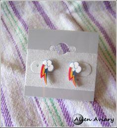 Rainbow Dash Cutie Mark Earrings on Etsy, $6.00