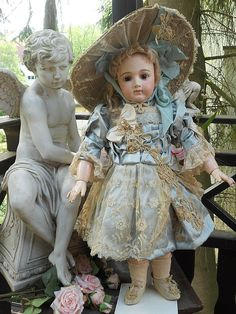 ~~~ Super Antique French Bebe Garden Dress with Gigantic Straw- Hat from whendreamscometrue on Ruby Lane