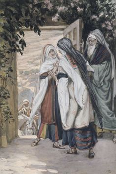 """During those days Mary set out and traveled to the hill country in haste to a town of Judah,where she entered the house of Zechariah and greeted Elizabeth.When Elizabeth heard Mary's greeting,the infant leaped in her womb,and Elizabeth,filled with the holy Spirit,cried out in a loud voice and said,""""Most blessed are you among women,and blessed is the fruit of your womb._Luke 1:39-42 // The Visitation //1886-1896 //James Tissot // Brooklyn Museum // #VirginMary #SaintElizabeth #VirgenMaría"""
