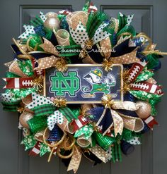 University of Notre Dame Wreath, Fighting Irish Wreath, Deco Mesh Wreath, ND Wreath, Notre Dame Wreath, Football Wreath, College Sports by ChanceyCreations on Etsy