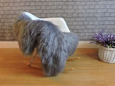 Luxury genuine Icelandic sheepskin rug grey color dyed single extra large, Grey550 by Ecostep on Etsy