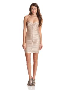Lillie Strapless Dress with Strapping by BCBGMAXAZRIA