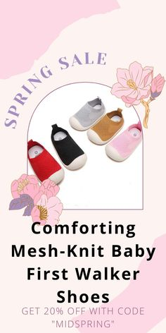 Protect your little one's feet in style as they learn to walk for the first time! These shoes are designed to provide optimal support, comfort & safety for your little one. Walker Shoes, First Walkers, Baby Skin, Spring Sale, Wet And Dry, Mesh Fabric, Baby Products, Cute Designs, Baby Care