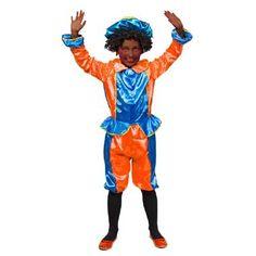 Pietenpak satijn blauw/oranje 3-5 jaar  Jij bent helemaal klaar voor de intocht van Sinterklaas met dit mooie pietenpak! De 3-delige set bestaat uit een broek hesje en pietenpet met veer.  EUR 9.99  Meer informatie
