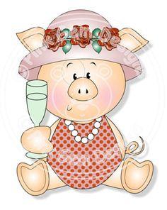 Digi Stamp Lady Piggin' Cheers - Pig. Birthday Card, Party Invitations, etc