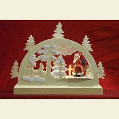 Candle Arches Fret Saw Work Mini Lightarch - Santa in Forest - 23x15x4,5cm / 9x6x2 inches