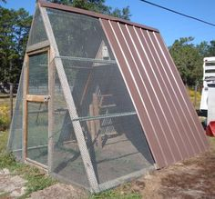 A frame Chicken coop.