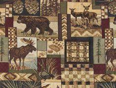 wildlife upholstery fabric | Rustic Lodge Fabric - Wildlife, Moose, Deer, Bear