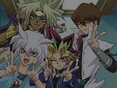 Bakura Ryo, Yami/Atem, Seto Kiba, and Marik Istar......... Huh, Marik is acting JUST like Miley.