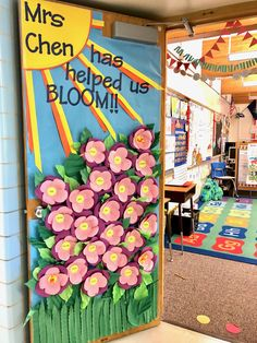 Made for our grade teacher at Spring Lane Elementary, May 2018 Garden Theme Classroom, Classroom Decor Themes, Classroom Door, Teacher Door Decorations, Class Decoration, Board Decoration, Teacher Doors, School Doors, 2nd Grade Teacher