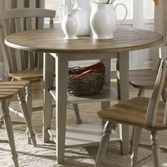 Liberty Furniture Al Fresco Driftwood Wood Round Extending Dining Table 541-T4242