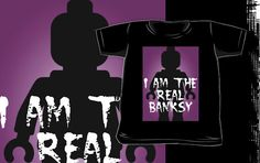 """""""Black Minifig with """"I am the Real Banksy"""" slogan by Customize My Minifig"""" Kids Clothes by ChilleeW 