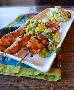 Ginger Chicken with Simple Mango Salsa - chicken breasts, coconut aminos/gluten-free soy sauce, garlic cloves, ground ginger, red pepper, avocado oil, mango salsa (mangoes, avocados, red onion, fresh cilantro, lime, sea salt)