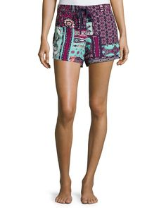 Dynasty Scarf Printed Drawstring Shorts, Bordeaux, Size: LARGE - Josie