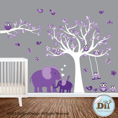 Purple and White Nursery Vinyl Wall Decal - Elephant and Owl Nursery Theme - White Tree Decal - Vinyl Wall Decor- Pattern Leaves - 820151