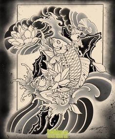 Carp Tattoo, Koi Fish Tattoo, Japanese Tattoo Art, Japanese Art, Tattoo Sketches, Tattoo Drawings, T Shirt Logo Design, Sanskrit Tattoo, Fu Dog