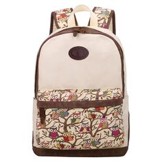 Cute Owl Print Canvas School Backpack For Teens Girls (Beige)