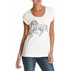 Wrangler White Horse Logo T-Shirt ($64) ❤ liked on Polyvore