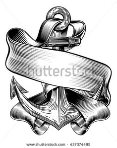 Buy Anchor Banner Vintage Woodcut by Krisdog on GraphicRiver. An original illustration of a ships anchor and scroll banner in a vintage woodcut woodblock style Anchor Tattoos, Arrow Tattoos, Banner Vintage, Pirate Font, Catrina Tattoo, Ship Anchor, Ribbon Banner, Tattoo Trends, Tattoo Ideas