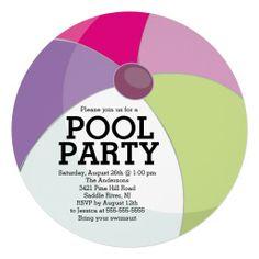 Cute Beach Ball Pool Party Invitations