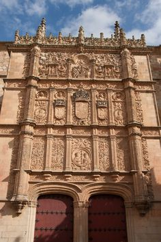 Facade of the University of Salamanca, Castile and León, Spain Places Around The World, Around The Worlds, Spanish Art, Tourist Spots, Historical Architecture, Romanesque, Beautiful Architecture, Spain Travel, Reign Bash