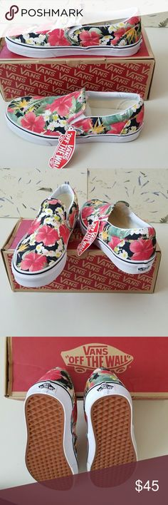 NWT Vans Slip-on So Pretty New Vans slip-on Aloha print so fun and happy print. Peekaboo white stretch for on/off ease.  Cushy foot bed for added comfort. Vans Shoes Sneakers