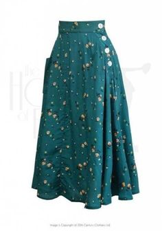 Style Whirlaway Swing Dance Skirt in Spring Garden- the buttonsssss oh if only it were a (tad) shorter Vintage Skirt, Vintage Dresses, Vintage Outfits, Vintage Floral, 1940s Dresses, 1940s Fashion, Vintage Fashion, Style Victoria Beckham, Pretty Outfits
