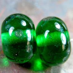 Transparent Green Handmade Lampwork Glass Bead Pair With Faded Dots SRA