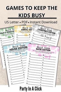 Printable Games for kids to keep them busy Family Games Indoor, Family Fun Games, Family Game Night, Alphabet Words, Alphabet Games, Kids Alphabet, Printable Games For Kids, Worksheets For Kids, Free Printables