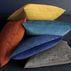 """Shop Trevino Terra Cotta Orange 20"""" Pillow.  Silk takes color beautifully revealing subtle tonal variances for depth and dimension."""
