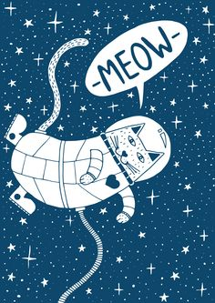 Space Cat Stars Meow Floating - Erik Buikema #illustration #spacecat
