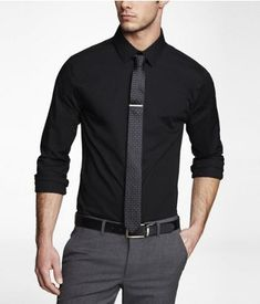 6579ffe687 1mx dress shirt. tie.tie bar. black. teacher dress code. express.