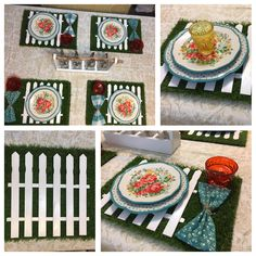 I made picket fence chargers on a grass placemat. Picket fence is made from paint sticks. Love how it came out. Garden Tablescape (credit to Chris for the tough cuts lol)