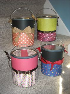 new paint buckets, decorated for gifts, candy bucket at halloween, teachers gift etc.