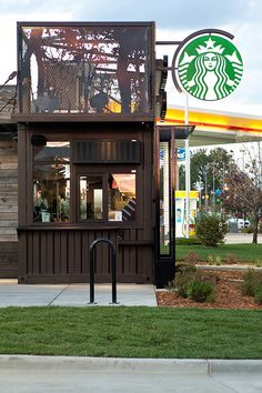 "In Colorado, a ""green"" pilot drive-through/walk-up Starbucks that achieves some…"