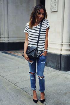 julie sarinana look tshirt destroyed jeans
