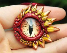 Green dragon eye pendant fantasy necklace green by GloriosaArt