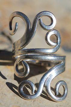 Vintage Hand Made Artisan 925 Sterling Silver Swirling Modernist Ring | eBay