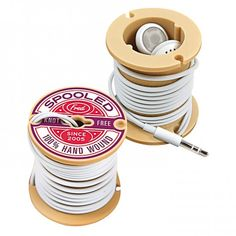 Spooled Headphone Cord Organiser | Yellow Octopus