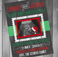 Pregnancy Announcement Christmas Pregnancy by CLaceyDesign on Etsy, $15.00